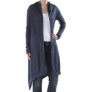 NWT! DKNY Open-Front High-Low Cardigan Navy